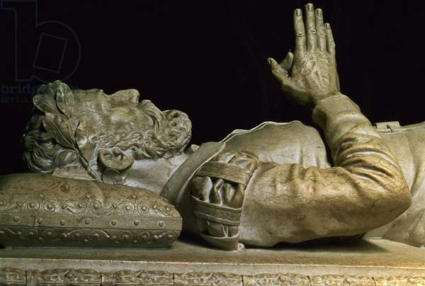 Detail from the tomb of the poet Luiz Vaz de Camoens (c.1524-80) (stone carving)