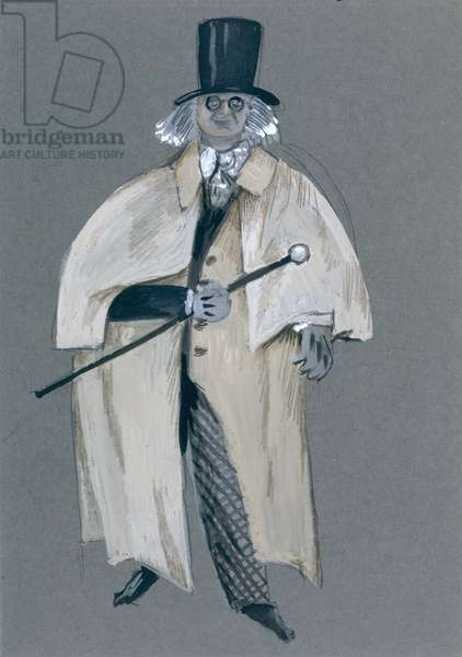 The Bard, from the opera 'Bluebeard's Castle' by Bela Bartok (1881-1945) (gouache, w/c and pencil on paper)
