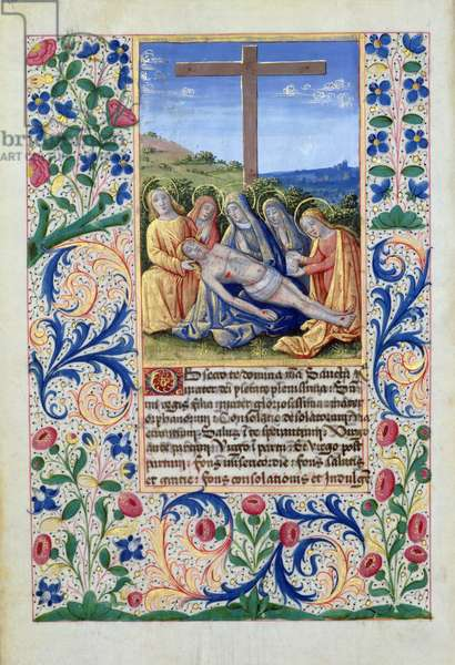 Ms Lat. Q.v.I.126 f.91v The Lamentation, from the 'Book of Hours of Louis d'Orleans', 1469 (vellum)