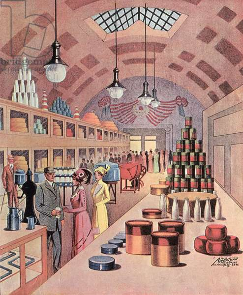 Interior of a food store in Milwaukee, 1912 (colour litho)