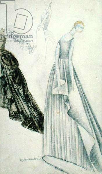 Desdemona from the opera 'Otello' by Giuseppe Verdi (1831-1901) (coloured pencil on paper)