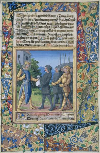 Ms Lat. Q.v.I.126 f.37 King Solomon's subjects bringing tribute, from the 'Book of Hours of Louis d'Orleans', 1490 (vellum)
