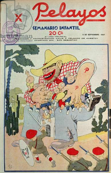 Pelayos: `The Marxist Ogre Steals Thousands of Our Brothers and Sisters', 5th Sept. 1937, cartoon on the cover of a children's magazine