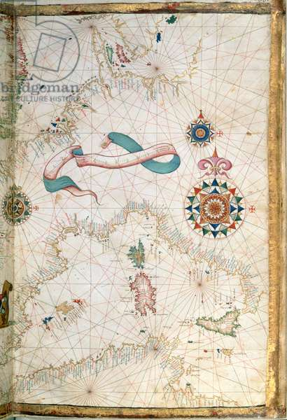 Corsica, Sardinia and Sicily, detail from a world atlas, 1565 (vellum)