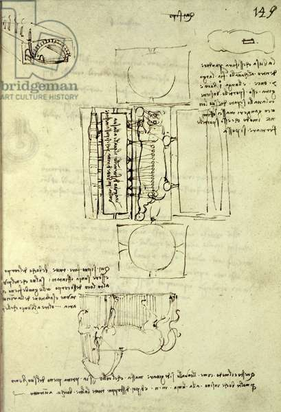 Sketch of the Casting Pit for the Sforza Horse seen from above and the side, fol. 149r from the Codex Madrid I, c.1493 (pen & ink on paper)