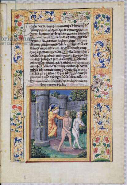 Ms Lat. Q.v.I.126 fol.14 Expulsion from the Garden of Eden, from 'Book of Hours of Louis d'Orleans', 1490 (vellum)