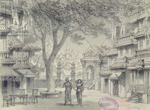 Set Design for Act II of the opera 'Lakme', by Leo Delibes (1836-91)