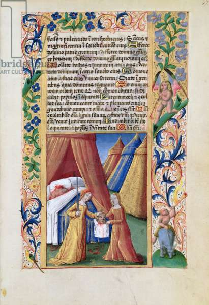 Ms Lat. Q.v.I.126 f.47 Judith with the head of Holofernes, from the 'Book of Hours of Louis d'Orleans', 1469 (vellum)