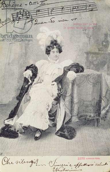 Scene from Act II of the opera 'La Boheme', by Giacomo Puccini (1858-1924) Published by Alterocca-Terni (b/w photo)