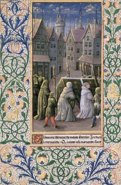 Ms Lat. Q.v.I.126 f.79v Burial procession, from the 'Book of Hours of Louis d'Orleans', 1469 (vellum)