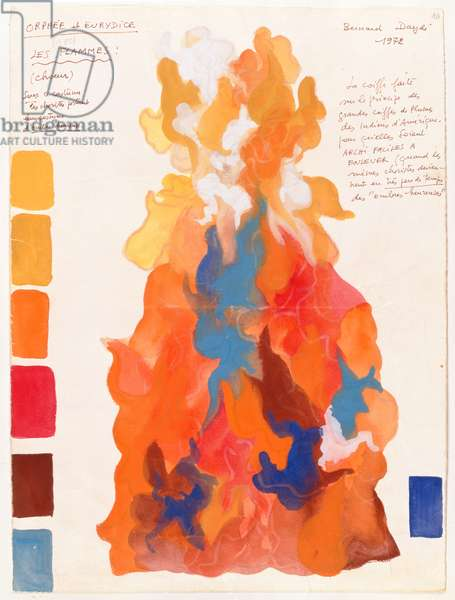The Flames, from the opera 'Orpheus and Eurydice' by Christoph Willibald Gluck (1714-87) 1972 (w/c on paper)