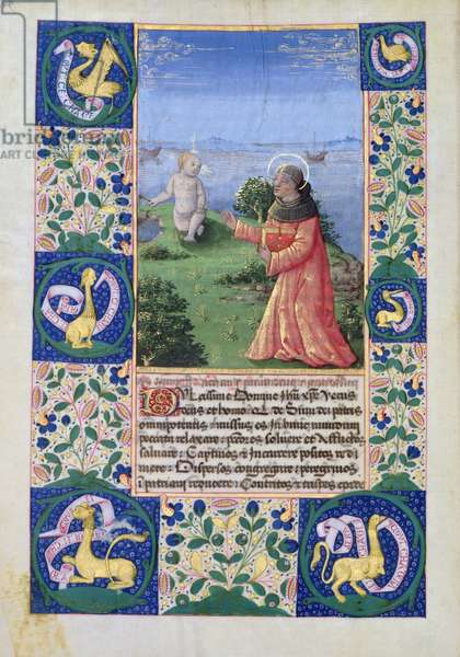 Ms Lat. Q.v.I.126 f.94v Louis of Orleans (1462-1515) praying before the Christ Child, from the 'Book of Hours of Louis d'Orleans', 1469 (vellum)