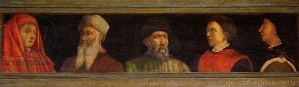 Portraits of Giotto (c.1266-1337) Uccello, Donatello (c.1386-1466) Manetti (c.1405-60) and Brunelleschi (1377-1446) (tempera on panel)