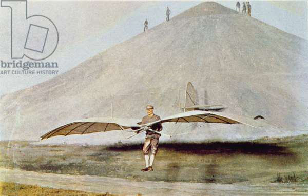 One of the many flying experiments of Otto Lilienthal (1848-96) from 'Scientific American' (colour litho)