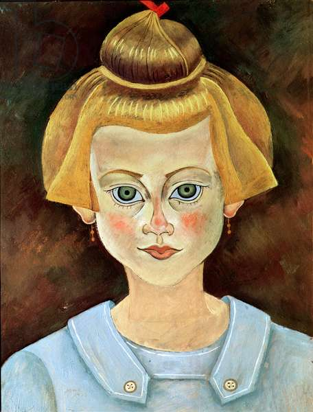 Portrait of a young Girl, 1919 (oil on paper mounted on canvas)