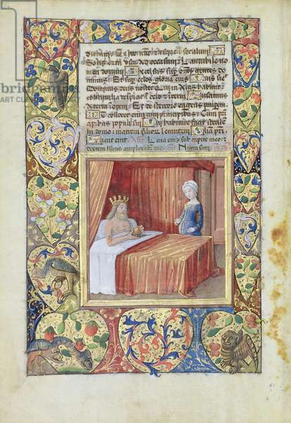 Ms Lat. Q.v.I.126 f.37v A king lying in bed, from the 'Book of Hours of Louis d'Orleans', 1490 (vellum)