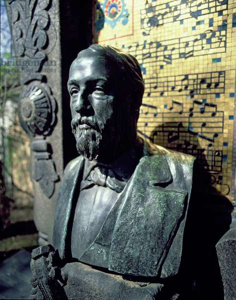 Portrait bust of Alexander Borodin (1833-87) from his tomb (bronze)