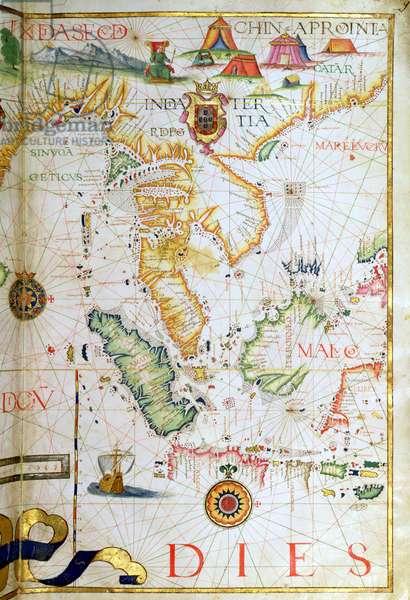 Mainland Southeast Asia, detail from a world atlas, 1565 (vellum)