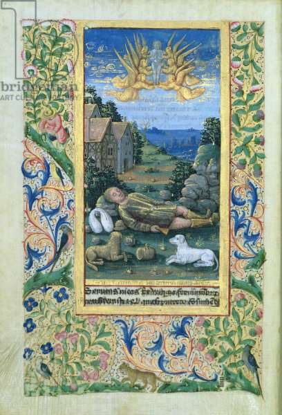 Ms Lat. Q.v.I.126 Saint Lazarus, from the 'Hours of Louis d'Orleans', 1469 (vellum)