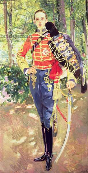 Portrait of King Alfonso XIII (1886-1941) wearing the uniform of the Hussars, 1907 (oil on canvas)