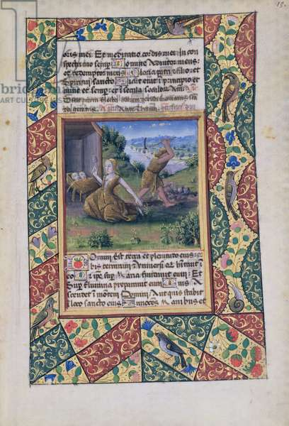 Ms Lat. Q.v.I.126 fol.15 Adam and Eve toiling, from 'Book of Hours of Louis d'Orleans', 1490 (vellum)