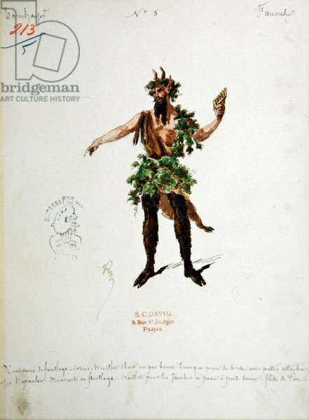 Costume design for a faun, for the opera 'Tannhauser', by Richard Wagner (1813-83) (w/c & ink on paper)