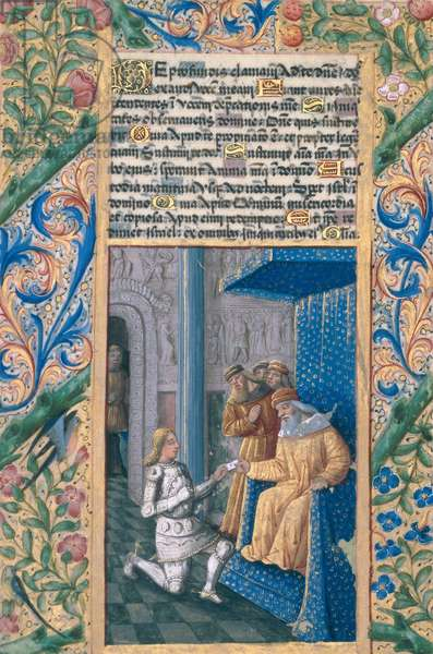 Ms Lat. Q.v.I.126 f.58v David sending Uriah to his death, from the 'Book of Hours of Louis d'Orleans', 1469 (vellum)