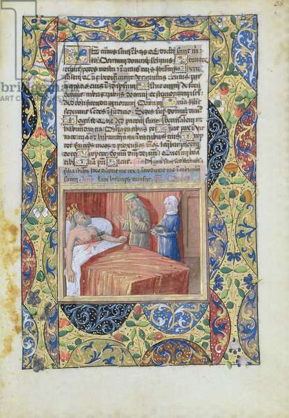 Ms Lat. Q.v.I.126 f.38 The king with a knife plunged through his heart, from the 'Book of Hours of Louis d'Orleans', 1490 (vellum)