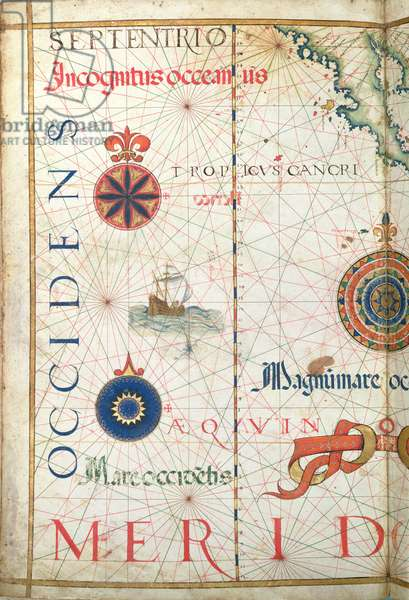 Central America and the Pacific, detail from a world atlas, 1565 (vellum)