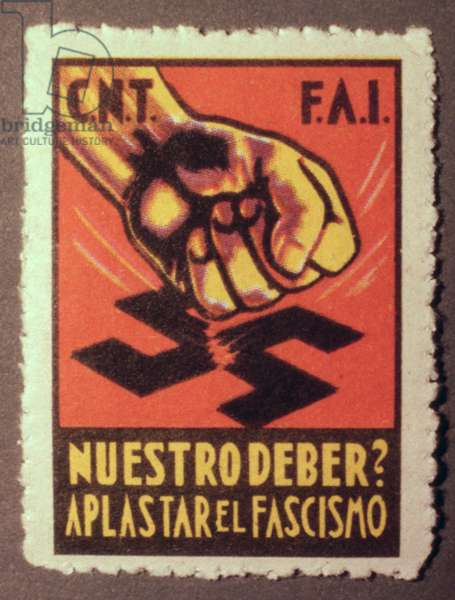 Stamp commemorating the C.N.T. and the F.A.I