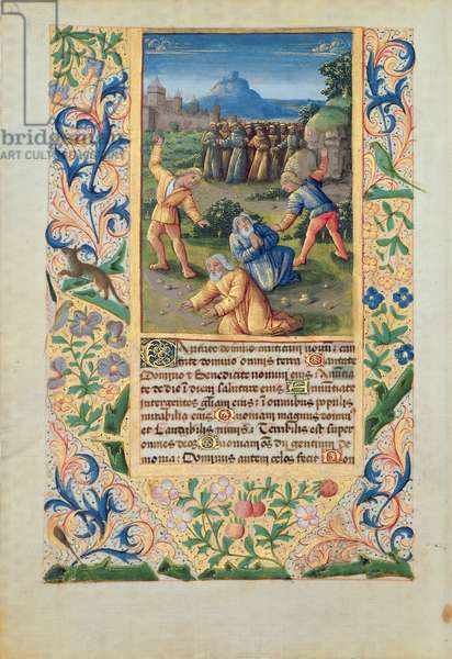 Ms Lat. Q.v.I.126 The Stoning of St. Stephen, from the 'Hours of Louis d'Orleans', 1469 (vellum)