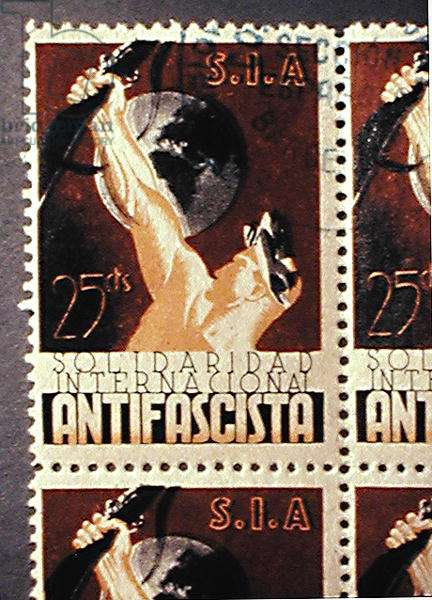 Stamp commemorating the 'Solidaridad Internacional Antifascista' (colour litho)
