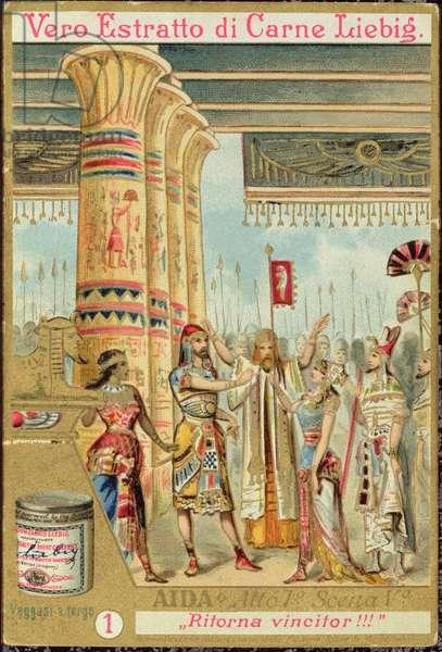 Scene from Act I, Scene v of the opera 'Aida', by Giuseppe Verdi (1813-1901) (colour litho)