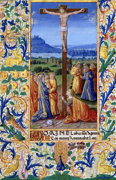 Ms Lat. Q.v.I.126 f.84v The Crucifixion, from the 'Book of Hours of Louis d'Orleans', 1469 (vellum)