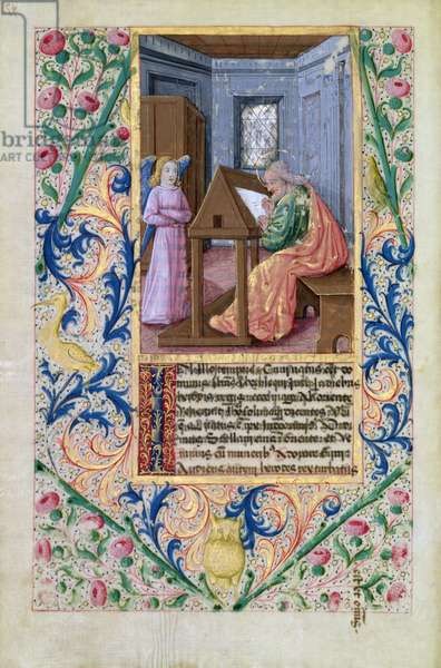 Ms Lat. Q.v.I.126 f.97v St. Matthew, from the 'Book of Hours of Louis d'Orleans', 1469 (vellum)