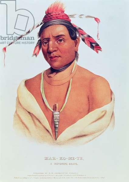 Portrait of Mar-Ko-Me-Te, A Menomene Brave, 1838 (colour litho)