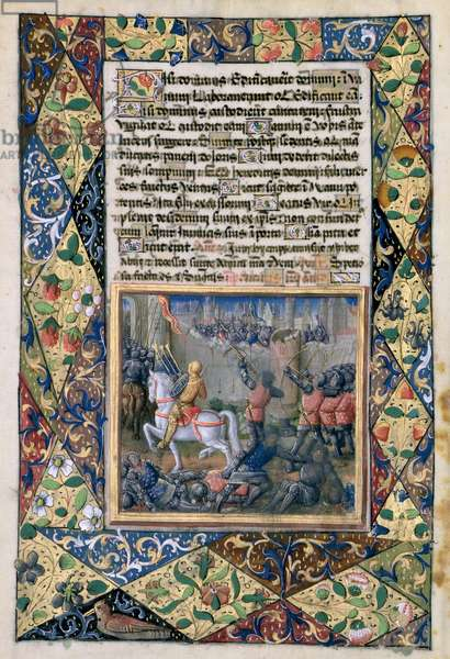 Ms Lat. Q.v.I.126 f.38v Rehoboam waging war against Jeroboam, from the 'Book of Hours of Louis d'Orleans', 1490 (vellum)