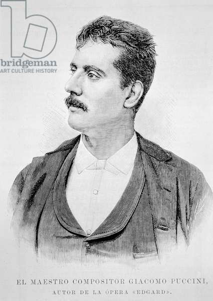 Portrait of Giacomo Puccini (1858-1924) (engraving)
