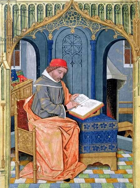 Ms Fr. Fv VI #1 fol.3v Matthaeus Platearius (d.c.1161) writing 'The Book of Simple Medicines', c.1470 (vellum)