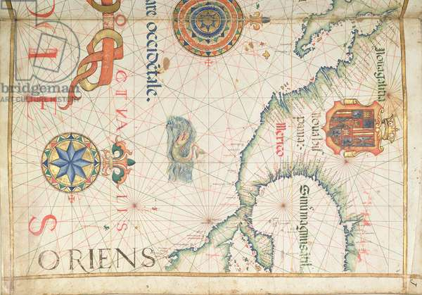 Mexico and Central America, detail from a world atlas, 1565 (vellum)