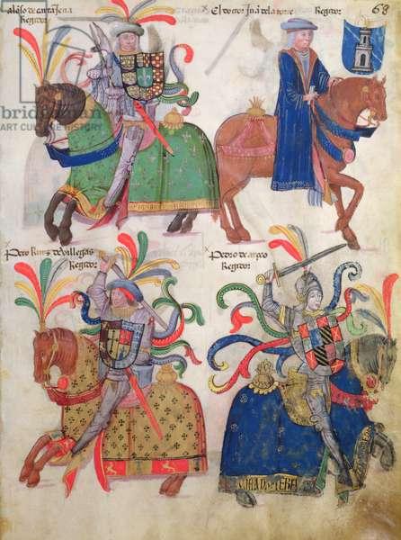 Four cavaliers, from the 'Libro de Los Caballeros de la Cofradia de Santiago' (vellum)