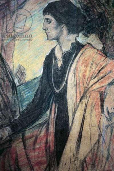 Portrait of Anna Akhmatova (1889-1966) (crayon on paper)