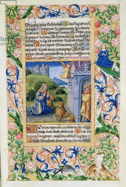 Ms Lat. Q.v.I.126 Anthony the Great and Paul the Hermit, from the 'Hours of Louis d'Orleans', 1469 (vellum)