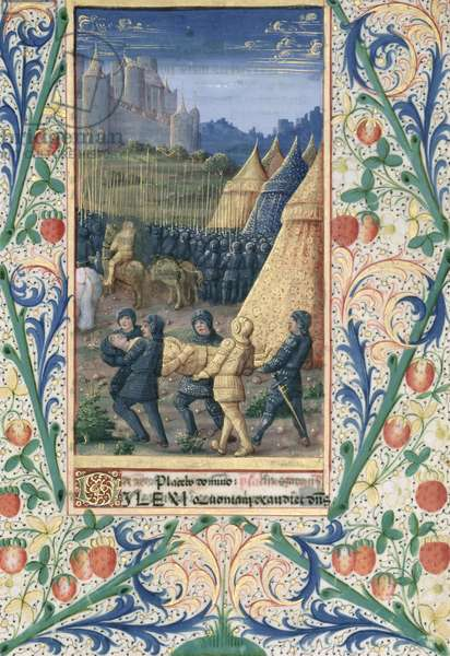 Ms Lat. Q.v.I.126 f.64 The death of Absalom, from the 'Book of Hours of Louis d'Orleans', 1469 (vellum)