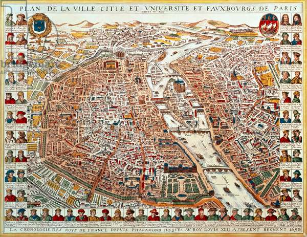 Plan of Paris, bordered by a chronological series of portraits of the kings of France from Pharamond to Louis XIV, 1698 (hand-coloured engraving)