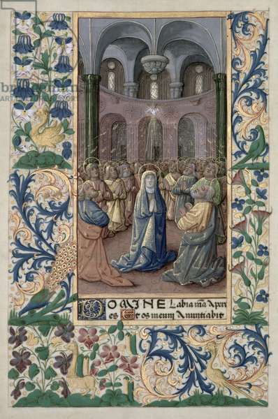 Ms Lat. Q.v.I.126 f.86v Pentecost, from the 'Book of Hours of Louis d'Orleans', 1469 (vellum)