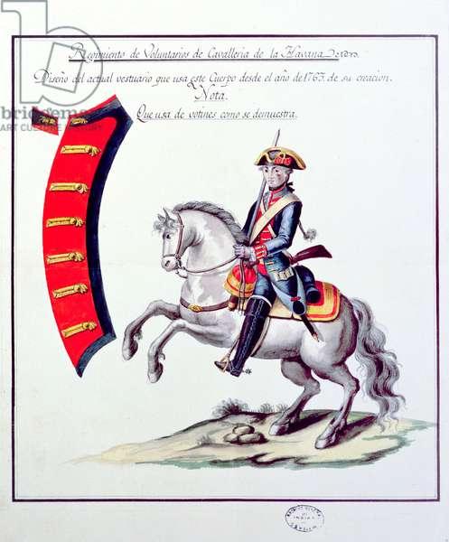 Uniform of the Volunteers of the Havana Cavalry Regiment, 1763 (print)