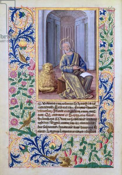 Ms Lat. Q.v.I.126 f.98v St. Mark, from the 'Book of Hours of Louis d'Orleans', 1469 (vellum)