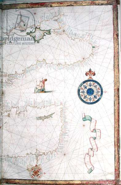 Turkey, the Caspian Sea and Cyprus, detail from a word atlas, 1565 (vellum)
