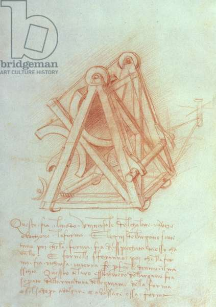 Study of the Wooden Framework with Casting Mould for the Sforza Horse, fol. 154v from the Codex Madrid II, c.1491-93 (pen & brown ink on paper)